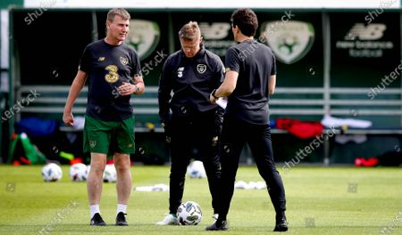 Manager Stephen Kenny with assistant coaches Damien Duff and Keith Andrews