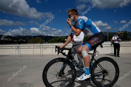 Germany's Andre Greipel arrives at the start of the 198 km (123 miles) third stage of the Tour de France cycling race between Nice and Sisteron, southern France, Monday Aug.31, 2020