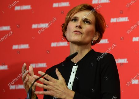Chairwoman of the German LEFT party (DIE LINKE) Katja Kipping attends a press conference in Berlin, Germany, 31 August 2020. Katja Kipping and Bernd Riexinger announced their resignation from the party's leadership.