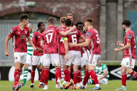Shamrock Rovers vs Cork City. Cork City's Gearoid Morrissey celebrates scoring a goal with teammates