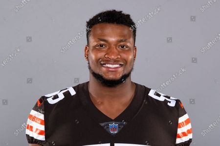 This is a 2020 photo of Tae Davis of the Cleveland Browns NFL football team. This image reflects the Cleveland Browns active roster as of when this image was taken