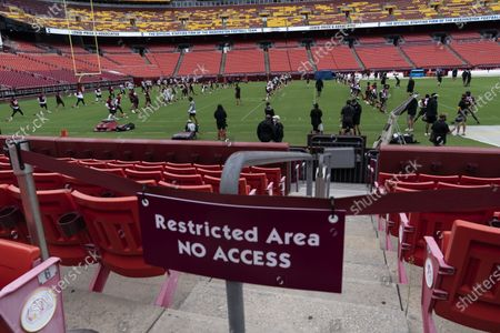 The Washington NFL football practice takes place at FedEx Field, in Washington