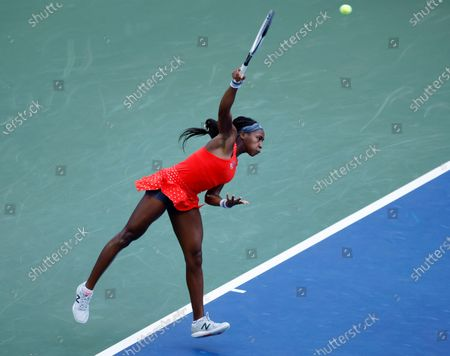 Cori 'Coco' Gauff of the US serves to Anastasija Sevastova of Latvia during their match on the first day of the US Open Tennis Championships the USTA National Tennis Center in Flushing Meadows, New York, USA, 31 August 2020. Due to the coronavirus pandemic, the US Open is being played without fans and runs from 31 August through 13 September.