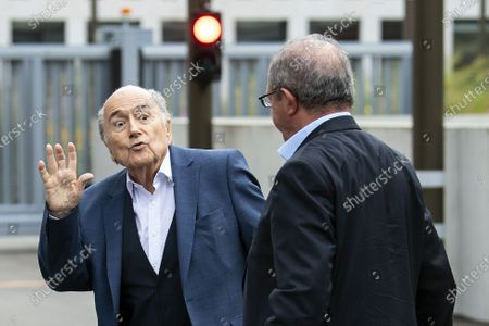 Former FIFA president Sepp Blatter (L) arrives in front of the building of the Office of the Attorney General of Switzerland, in Bern, Switzerland, 01 September 2020. Former UEFA president Michel Platini and former FIFA president Sepp Blatter each face interrogation from the Swiss public prosecutor as part of the proceedings opened in 2015 over a payment of 2 million Swiss francs. Platini's hearing was on 30 August, Blatter's hearing on 01 September.