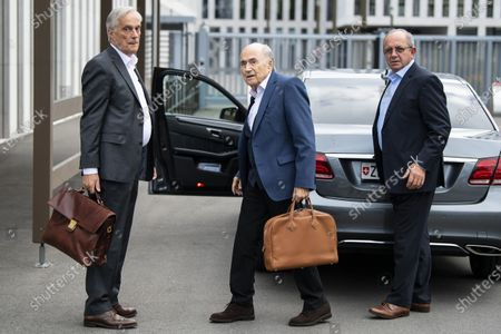 Stock Image of Former FIFA president Sepp Blatter (C) and his lawyer Lorenz Erni (L) arrives in front of the building of the Office of the Attorney General of Switzerland, in Bern, Switzerland, 01 September 2020. Former UEFA president Michel Platini and former FIFA president Sepp Blatter each face interrogation from the Swiss public prosecutor as part of the proceedings opened in 2015 over a payment of 2 million Swiss francs. Platini's hearing was on 30 August, Blatter's hearing on 01 September.