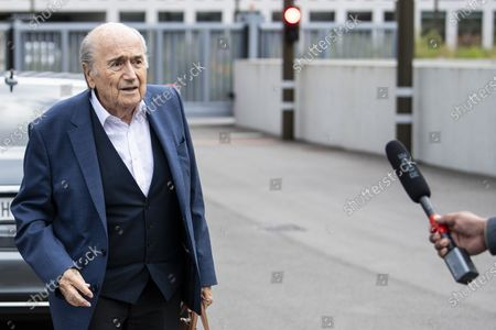 Former FIFA president Sepp Blatter arrives in front of the building of the Office of the Attorney General of Switzerland, in Bern, Switzerland, 01 September 2020. Former UEFA president Michel Platini and former FIFA president Sepp Blatter each face interrogation from the Swiss public prosecutor as part of the proceedings opened in 2015 over a payment of 2 million Swiss francs. Platini's hearing was on 30 August, Blatter's hearing on 01 September.