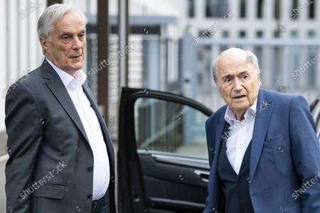 Stock Picture of Former FIFA president Sepp Blatter (R) and his lawyer Lorenz Erni (L) arrive in front of the building of the Office of the Attorney General of Switzerland, in Bern, Switzerland, 01 September 2020. Former UEFA president Michel Platini and former FIFA president Sepp Blatter each face interrogation from the Swiss public prosecutor as part of the proceedings opened in 2015 over a payment of 2 million Swiss francs. Platini's hearing was on 30 August, Blatter's hearing on 01 September.