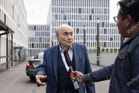 Stock Photo of Former FIFA president Sepp Blatter arrives in front of the building of the Office of the Attorney General of Switzerland, in Bern, Switzerland, 01 September 2020. Former UEFA president Michel Platini and former FIFA president Sepp Blatter each face interrogation from the Swiss public prosecutor as part of the proceedings opened in 2015 over a payment of 2 million Swiss francs. Platini's hearing was on 30 August, Blatter's hearing on 01 September.
