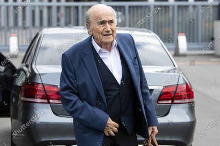 Stock Image of Former FIFA president Sepp Blatter arrives in front of the building of the Office of the Attorney General of Switzerland, in Bern, Switzerland, 01 September 2020. Former UEFA president Michel Platini and former FIFA president Sepp Blatter each face interrogation from the Swiss public prosecutor as part of the proceedings opened in 2015 over a payment of 2 million Swiss francs. Platini's hearing was on 30 August, Blatter's hearing on 01 September.