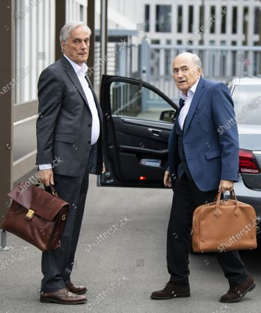 Former FIFA president Sepp Blatter (R) and his lawyer Lorenz Erni (L) arrive in front of the building of the Office of the Attorney General of Switzerland, in Bern, Switzerland, 01 September 2020. Former UEFA president Michel Platini and former FIFA president Sepp Blatter each face interrogation from the Swiss public prosecutor as part of the proceedings opened in 2015 over a payment of 2 million Swiss francs. Platini's hearing was on 30 August, Blatter's hearing on 01 September.
