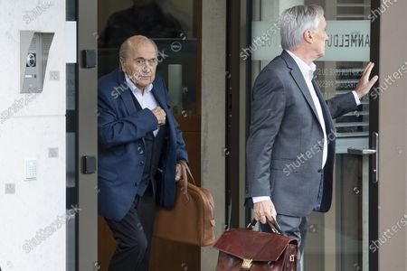 Former FIFA president Sepp Blatter (L) and his lawyer Lorenz Erni (R) arrive in front of the building of the Office of the Attorney General of Switzerland, in Bern, Switzerland, 01 September 2020. Former UEFA president Michel Platini and former FIFA president Sepp Blatter each face interrogation from the Swiss public prosecutor as part of the proceedings opened in 2015 over a payment of 2 million Swiss francs. Platini's hearing was on 30 August, Blatter's hearing on 01 September.