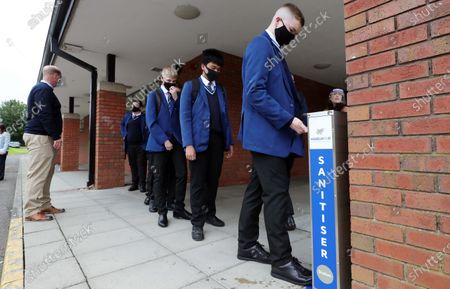 Stock Photo of Pupils from Year 11 at Hazelwood Integrated College during their first day back to the north Belfast school. Post-primary pupils and teachers will be required to wear face coverings in school corridors and other communal areas.Education Minister Peter Weir said the measure would come into effect on 31 August when schools return full-time.