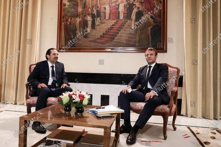 The President of the Republic, Emmanuel Macron meets the former Lebanese Prime Minister, Saad Hariri.
