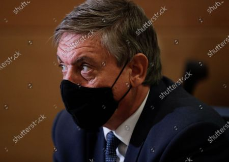 Former Belgium Interior minister, now Flemish Minister president Jan Jambon attends a hearing on the Chovanec case by the Interior and Justice Committee of Belgium's federal Parliament in Brussels, Belgium, 01 September 2020. Jambon spoke about recent revelations in the case of Slovakian Jozef Chovanec, who was killed in 2018 after a crackdown in a police cell at Charleroi airport, when Jambon was Federal Minister of the Interior.
