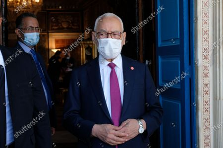 President of Tunisian parliament Rached Ghannouchi poses for a portrait in front of his office.