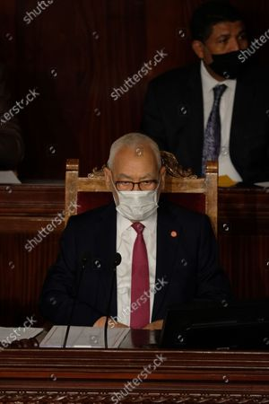 President of the Tunisian parliament Rached Ghannouchi assist the vote of confidence session.