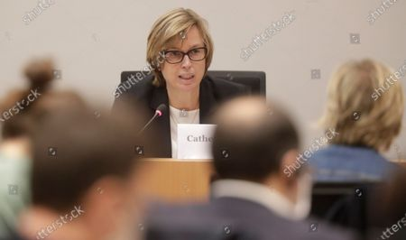 Stock Photo of Executive Director of EUROPOL and former boss of Belgium Police, Catherine De Bolle  attends a hearing on Chovanec case by Interior and justice committee of Belgium Federal Parliament in Brussels, Belgium, 01 September 2020. The proceedings involve  the case of the Slovakian businessman Jozef Chovanec, who died in 2018 after a crackdown in a police cell at Charleroi airport, when Jan Jambon, now Flemish Minister president, who testified was Federal Minister of the Interior. Slovakia's foreign minister has condemned the violent treatment of a Slovak citizen by police officers at the Belgian airport and demanded a thorough investigation.