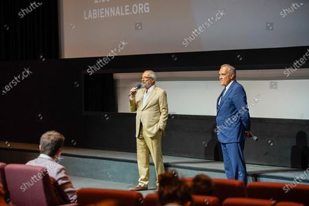 The director of the Venice Film Festival Alberto Barbera  (R) with the president of the Venice  Biennial Roberto Cicutto prior the screening  of the  Andrea Segre docufilm 'Molecole', made in the Venice during lockdown  for the coronavirus presented in the Sala Darsena and at the PalaBiennale at the 77th annual Venice International Film Festival, in Venice, Italy, 01 September 2020.