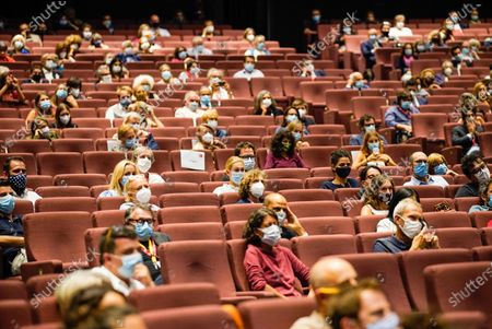 Spectators at the new film by director Andrea Segre screening, the docufilm 'Molecole', made in the Venice during lockdown  for the coronavirus presented in the Sala Darsena and at the PalaBiennale at the 77th annual Venice International Film Festival, in Venice, Italy, 01 September 2020.