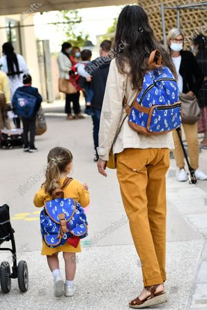 Pupils arrive for the first day of school for the 2020-2021 school year at Simone Veil School in Bordeaux, Tuesday 01 September 2020.