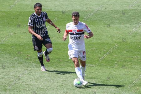 Sidcley and Hernanes during a game between São Paulo  vs Corinthians, a match valid for the Brazilian Championship 2020 at the Murumbi stadium in the southern part of the capital of São Paulo.