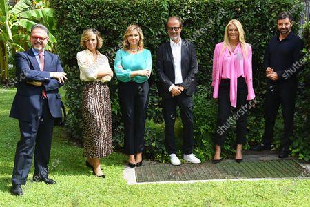 (L-R) Marco Fritella, Monica Giandotti, Serena Bortone, Stefano Coletta, Eleonora Daniele and Alberto Matano