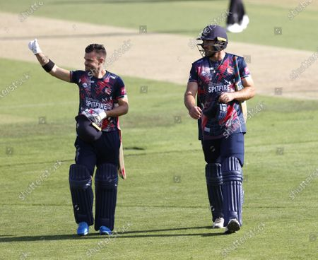 Victorious Kent players Heino Kuhn (L) and Grant Stewart walk off at the end of the Kent Spitfires vs Surrey, Vitality Blast T20 Cricket at The Spitfire Ground on 1st September 2020