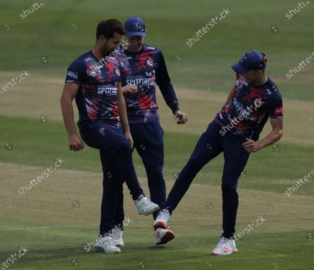 Tim Groenewald (L) of Kent celebrates after bowling Ben Foakes during Kent Spitfires vs Surrey, Vitality Blast T20 Cricket at The Spitfire Ground on 1st September 2020
