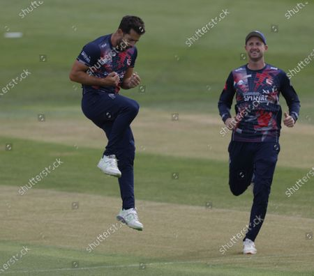 Tim Groenewald of Kent is jubilant after bowling Ben Foakes during Kent Spitfires vs Surrey, Vitality Blast T20 Cricket at The Spitfire Ground on 1st September 2020