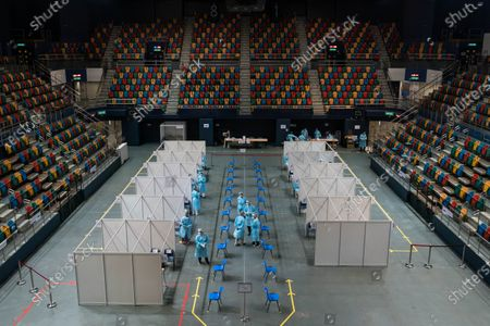 A general view of the makeshift testing site is seen at the Queen Elizabeth Stadium in Hong Kong, China, 01 September 2020. A Covid-19 testing programme begins at 141 sample collection centres across all 18 districts in city.