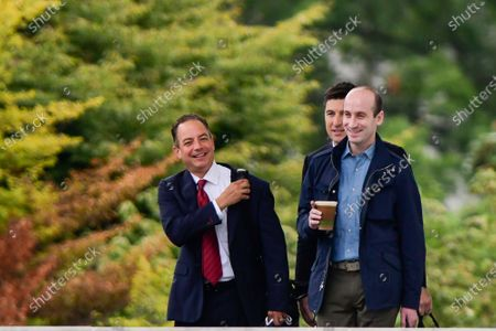 Former White House Chief of Staff Reince Priebus (L), and President Trump Senior Advisor Stephen Miller (R), leave the White House with US President Donald J. Trump (not pictured), in Washington, DC, USA, 01 September 2020, to meet with law enforcement officials in Kenosha, Wisconsin.