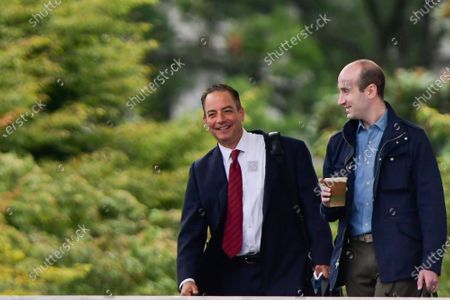 Stock Image of Former White House Chief of Staff Reince Priebus, left, and President Trump Senior Advisor Stephen Miller, right, leave The White House with Stephan Miller, right, in Washington, DC,, to meet with law enforcement officials in Kenosha, Wis.