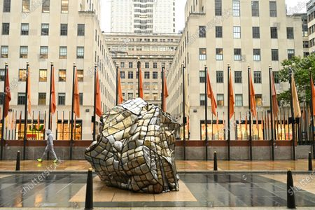 Glacial Erratic by artist Beatriz Cortez is seen at Frieze Sculpture at Rockefeller Center, a free largescale public art installation presented by Frieze New York and Tishman Speyer, in New York. The installation features site-specific works from leading international artists Ghada Amer, Cortez, Andy Goldsworthy, Lena Henke, Camille Henrot, and Thaddeus Mosley and is open to the public until Oct. 2nd