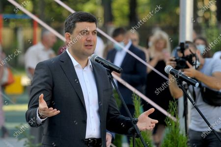 Ex-premier Volodymyr Groysman delivers a speech during the First Bell event at gymnasium N24, Vinnytsia, central Ukraine. The academic institution built under the Great Construction National Programme is capable of admitting 1,200 students.
