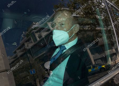Stock Photo of Former Australian Prime Minister Tony Abbott is driven from a Policy Exchange conference in central London. Mr Abbott is thought to be helping the British government with Brexit trade negotiations.