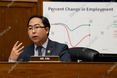 US Rep. Andy Kim questions Treasury Secretary Steven Mnuchin as he testifies before the House Select Subcommittee on the Coronavirus Crisis on Capitol Hill in Washington, DC, USA, 01 September 2020.
