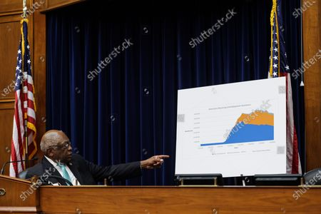United States House Oversight and Reform Subcommittee Chairman US Representative James Clyburn (Democrat of South Carolina) points to a sign displaying information on unemployment in the United States, during a US House Oversight and Reform Subcommittee, on the Trump administrations response the the Coronavirus crisis, on Capitol Hill,,