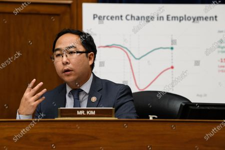 United States Representative Andy Kim (Democrat of New Jersey) questions US Secretary of the Treasury Steven T. Mnuchin as he testifies before the House Select Subcommittee on the Coronavirus Crisis on Capitol Hill in Washington, DC,.