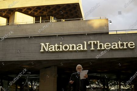 Actress and campaigner Vanessa Redgrave speaks outside the National Theatre in London, . Vanessa Redgrave proposed that theatre people and theatre lovers should gather on the first of every month to appeal for support to raise funds to restore jobs across all the threatened arts sector and theatres, including the technical workers, across the UK