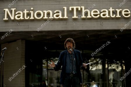 Theatre director Trevor Nunn speaks outside the National Theatre in London, . Actress and campaigner Vanessa Redgrave proposed that theatre people and theatre lovers should gather on the first of every month to appeal for support to raise funds to restore jobs across all the threatened arts sector and theatres, including the technical workers, across the UK