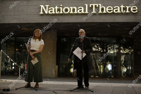Actress and campaigner Vanessa Redgrave, right, stands with actress Maxine Peake as they speak outside the National Theatre in London, . Actress and campaigner Vanessa Redgrave proposed that theatre people and theatre lovers should gather on the first of every month to appeal for support to raise funds to restore jobs across all the threatened arts sector and theatres, including the technical workers, across the UK