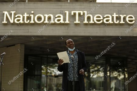 Comedian and actor Lenny Henry speaks outside the National Theatre in London, . Actress and campaigner Vanessa Redgrave proposed that theatre people and theatre lovers should gather on the first of every month to appeal for support to raise funds to restore jobs across all the threatened arts sector and theatres, including the technical workers, across the UK