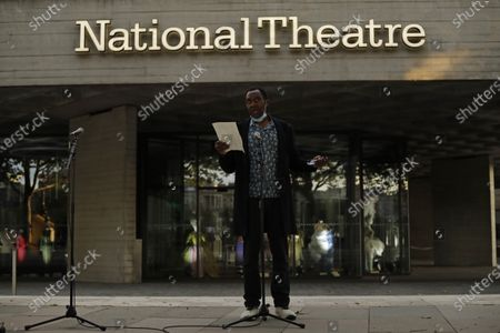 Comedian and actor Lenny Henry speaks outside the National Theatre in London, . Actress and campaigner Vanessa Redgrave proposed that theatre people and theatre lovers should gather on the first of every month to appeal for support to raise funds to restore jobs across all the threatened theatre and arts centre jobs, including the technical workers, across the UK