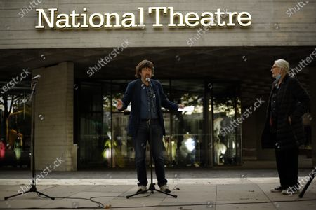 Stock Photo of Theatre director Trevor Nunn speaks as actress and campaigner Vanessa Redgrave listens outside the National Theatre in London, . Redgrave proposed that theatre people and theatre lovers should gather on the first of every month to appeal for support to raise funds to restore jobs across all the threatened arts sector and theatres, including the technical workers, across the UK