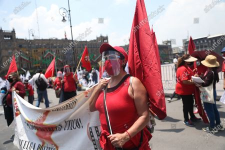 Stock Picture of Social organizations protest against the management of President Andres Lopez Obrador in Mexico City, Mexico, 01 September 2020. Dozens of people marched through Mexico City in protest against President Andres Manuel Lopez Obrador, who presented this same day the report of his second year in office.