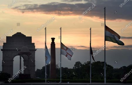 Army, Air force, Navy and the Indian National Flag fly at half-mast at National war Memorial during the seven-day state mourning on demise of former President Pranab Mukherjee   on September 1, 2020 in New Delhi, India.