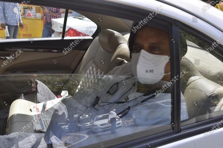 Congress leader Shashi Throor arrives at the residence of former president and veteran Congress leader Pranab Mukherjee to pay his last respects, at 10 Rajaji Marg on September 1, 2020 in New Delhi, India.