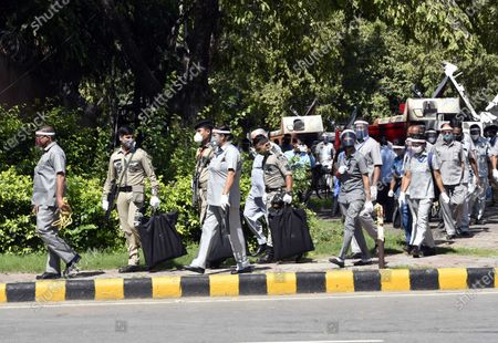Security personnel seen outside the residence of veteran Congress leader Pranab Mukherjee, at 10 Rajaji Marg on September 1, 2020 in New Delhi, India.