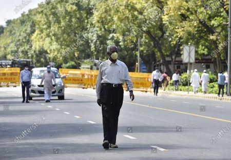 CPM leader D Raja seen outside the residence of veteran Congress leader Pranab Mukherjee, at 10 Rajaji Marg on September 1, 2020 in New Delhi, India.