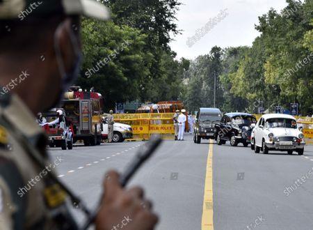 An ambulance carrying the mortal remains of veteran Congress leader Pranab Mukherjee arrives at his residence, at 10 Rajaji Marg on September 1, 2020 in New Delhi, India.